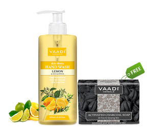 Organic Lemon & Eucalyptus Hand Wash (250 ml) with free Charcoal Soap (75 gms)
