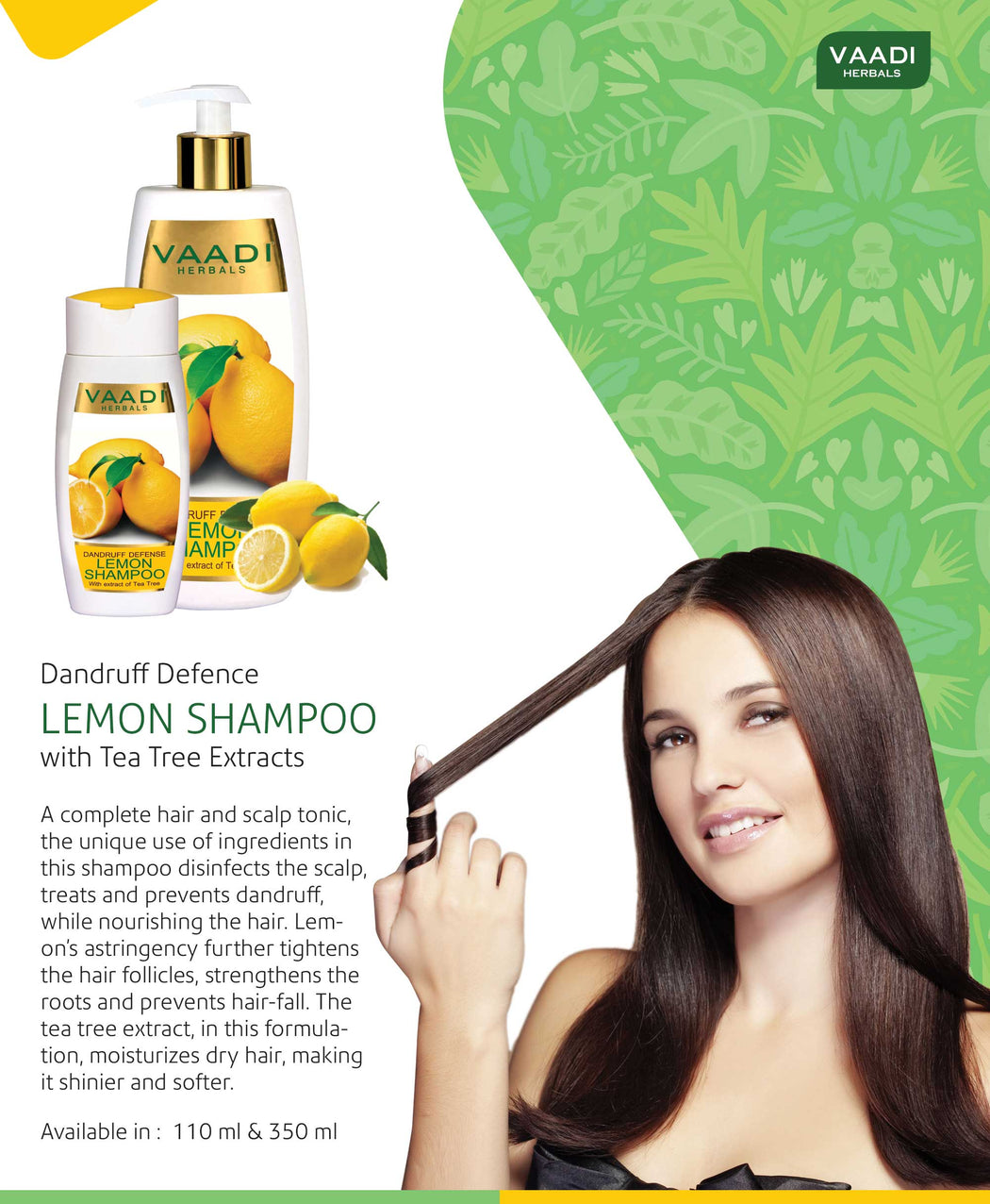 Dandruff Defense Organic Lemon Shampoo with Tea Tree Extract - Disinfects Scalp - Prevents Hairfall (3 x 110 ml/ 4 fl oz)