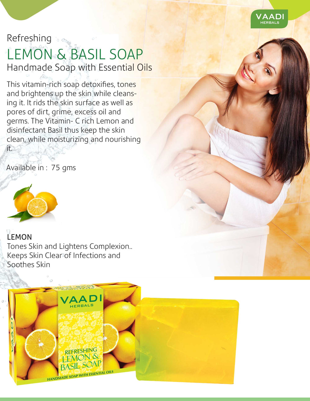 Refreshing Organic Lemon & Basil Soap - Tones & Brightens Skin - Detoxifies Skin Deep (3 x 75 gms / 2.7 oz)