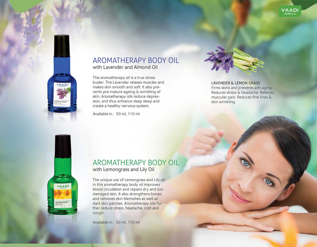 Organic Lavender Body Oil with Almond Extract - Aromatherapy - Anti Ageing - Reduces Stress & Depression (2 x 110ml /4 fl oz)