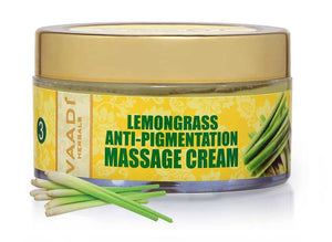 Anti Pigmentation Organic Lemongrass Massage Cream - Unclogs Pores - Makes Skin Smooth & Clear (50 gms / 2 oz)