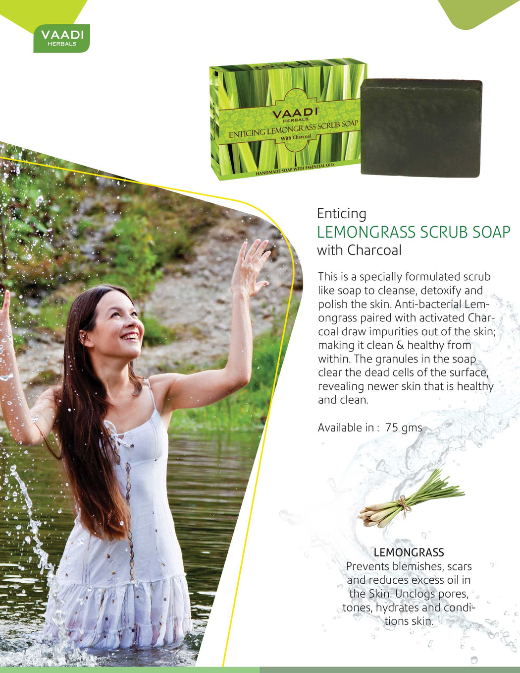 Enticing Organic Lemongrass Soap with Charcoal - Exfoliates & Polishes Skin - Makes Skin Smooth (6 x 75 gms / 2.7 oz)