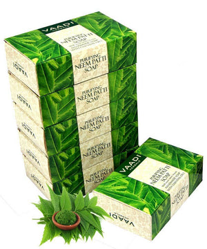 Organic Neem Soap with Pure Neem Leaves - Detoxifies Skin - Prevents Skin Breakouts (6 x 75 gms / 2.7 oz)