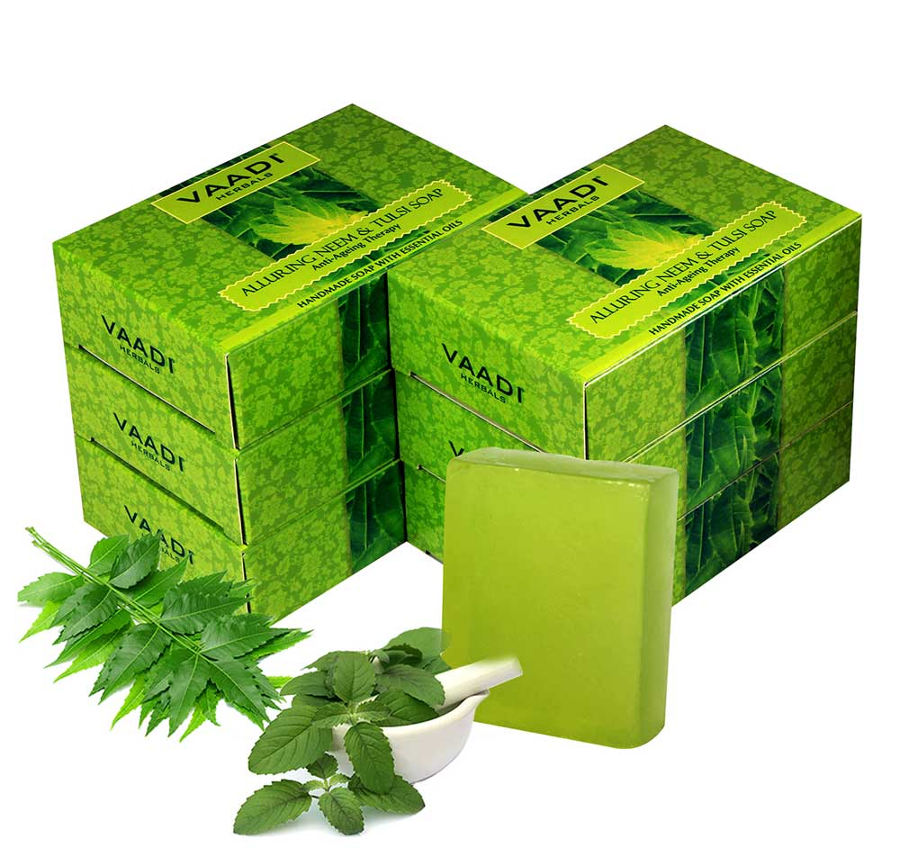 Organic Alluring Neem Tulsi Soap with Aloe Vera, Vitamin E & Tea Tree Oi - Prevents Ageing - Protects Skin (6 x 75 gms / 2.7 oz)