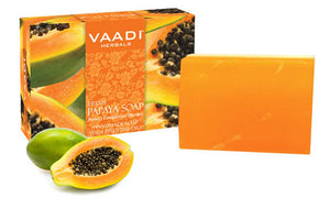 Organic Fresh Papaya Soap - Clears Impurities off Skin - Lightens Skin Tone - Gives a Natural Glow (75 gms / 2.7 oz)