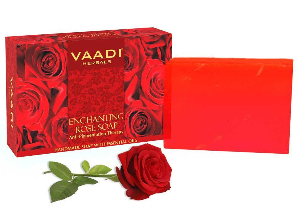 Enchanting Organic Rose Soap with Mulberry Extract - Anti Pigmentation Therapy - Lightens Dark Spots & Patches (75 gms/2.7 oz)