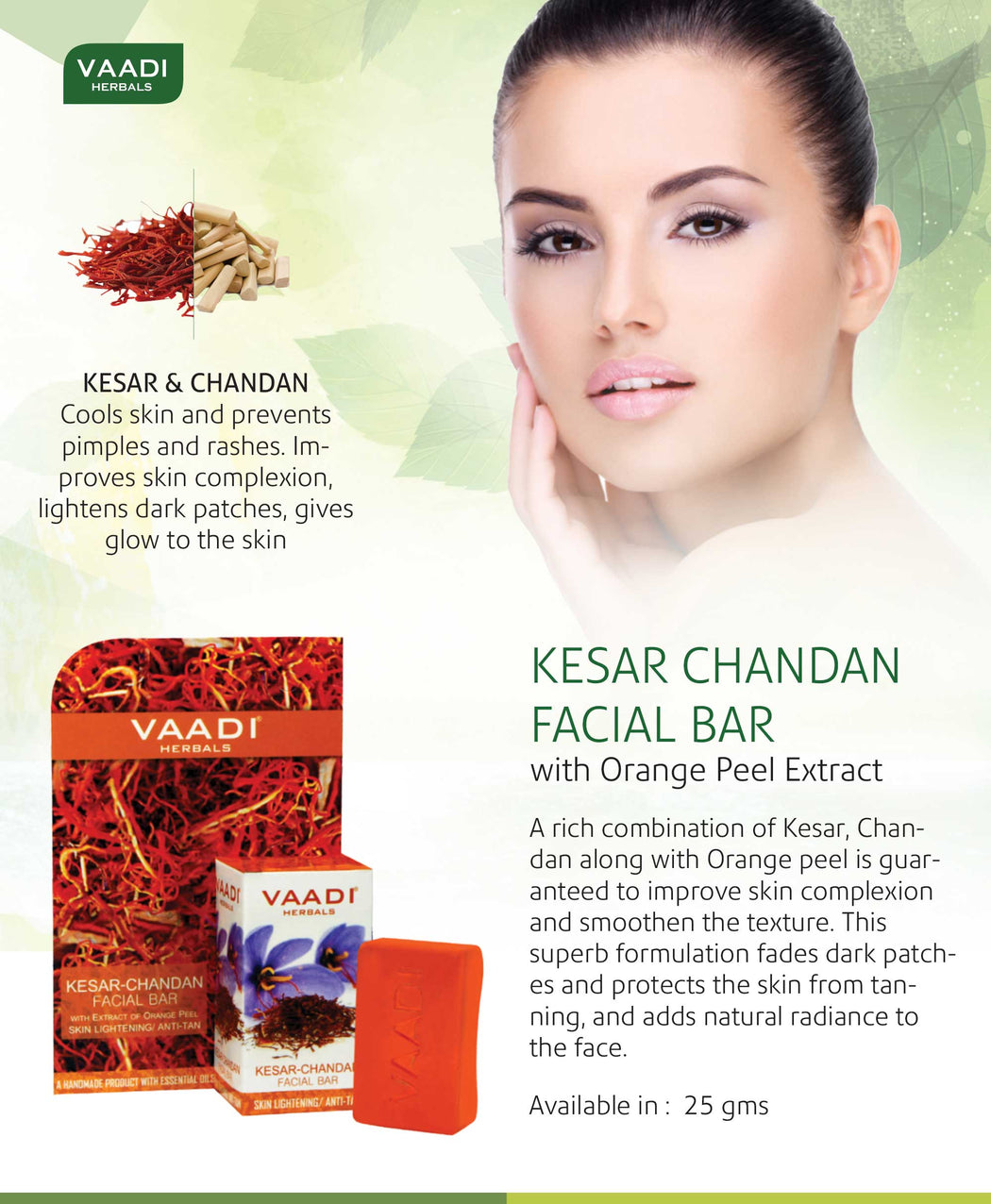 Organic Saffron Sandal Facial Bar with Orange Peel Extract - Lightens Marks- Makes Skin Flawless (25 gms/0.9 oz)