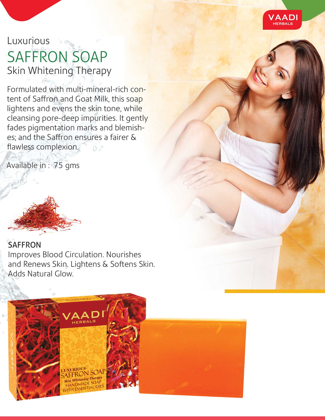 Luxurious Organic Saffron Soap - Skin Brightening Therapy - Evens Skin Tone - Lightens Marks (12 x 75 gms / 2.7 oz)