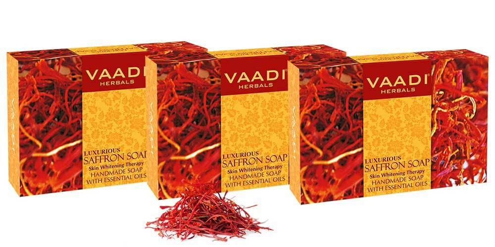 Luxurious Organic Saffron Soap - Skin Brightening Therapy - Evens Skin Tone - Lightens Marks ( 3 x 75 gms / 2.7 oz)