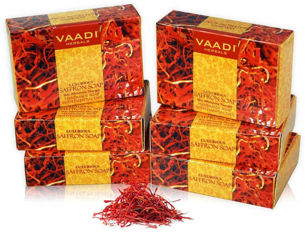 Luxurious Organic Saffron Soap - Skin Brightening Therapy - Evens Skin Tone - Lightens Marks ( 6 x 75 gms / 2.7 oz)