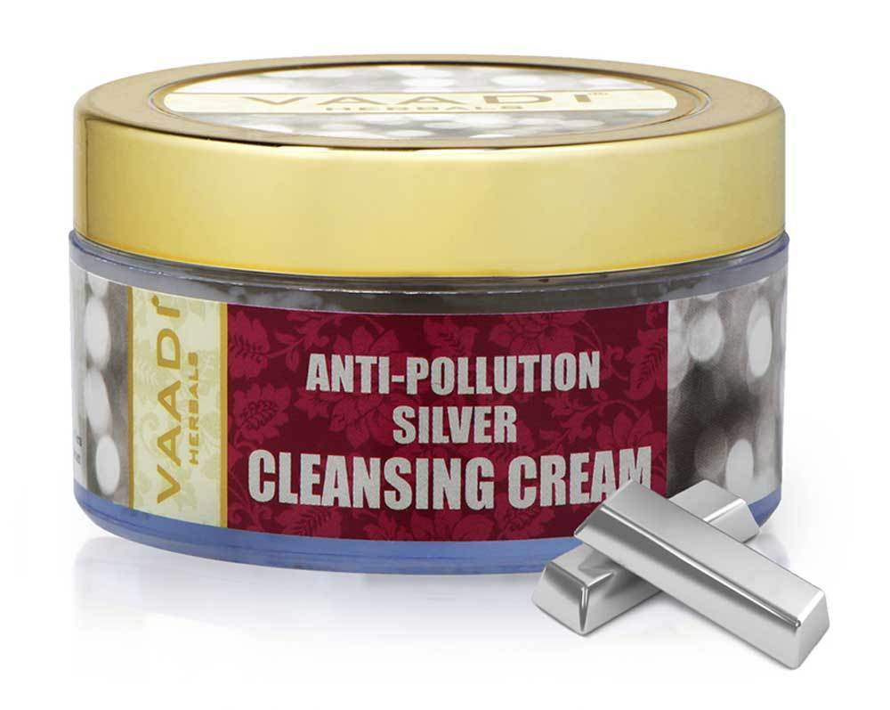 Organic Silver Cleansing Cream with Pure Silver Dust & Sandalwood Oil - Deep Cleanses Skin - Keeps Skin Soft (50 gms/ 2oz)