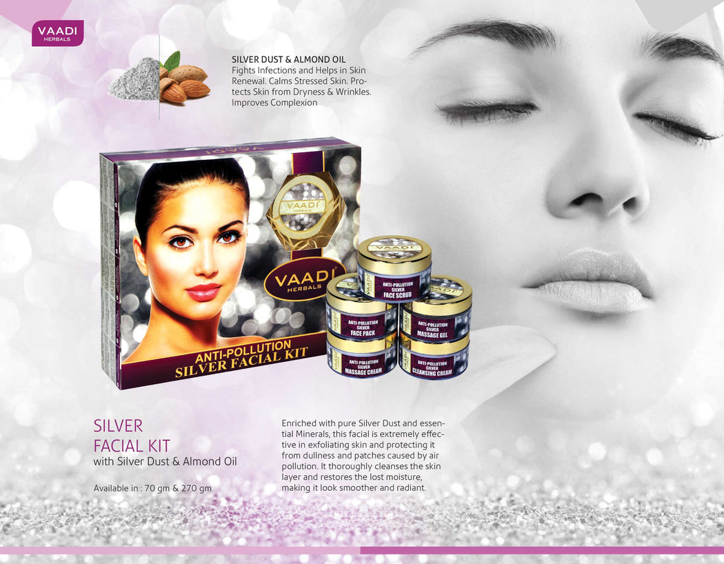 Anti Pollution Organic Silver Facial Kit with Pure Silver Dust, Rosemary and Lavender Oil, Sandalwood Paste - Cleanses and Moisturises Skin (70 gms/2.5 oz)