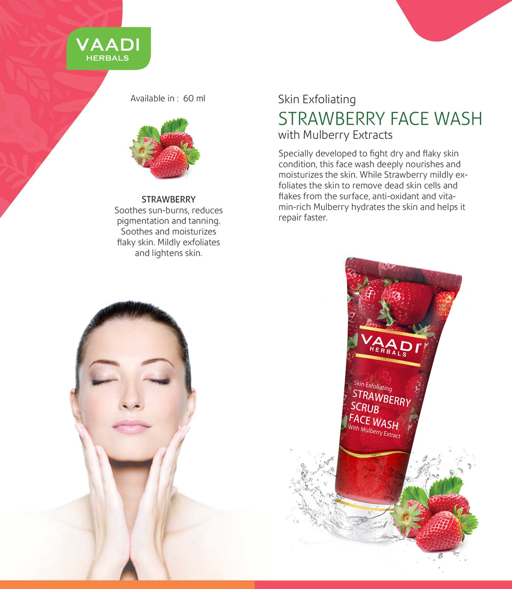 Skin Exfoliating Organic Strawberry Scrub Face Wash with Mulberry Extract- Removes Dead Skin - Deeply Nourishes Skin ( 4 x 60ml/ 21.1 fl oz)