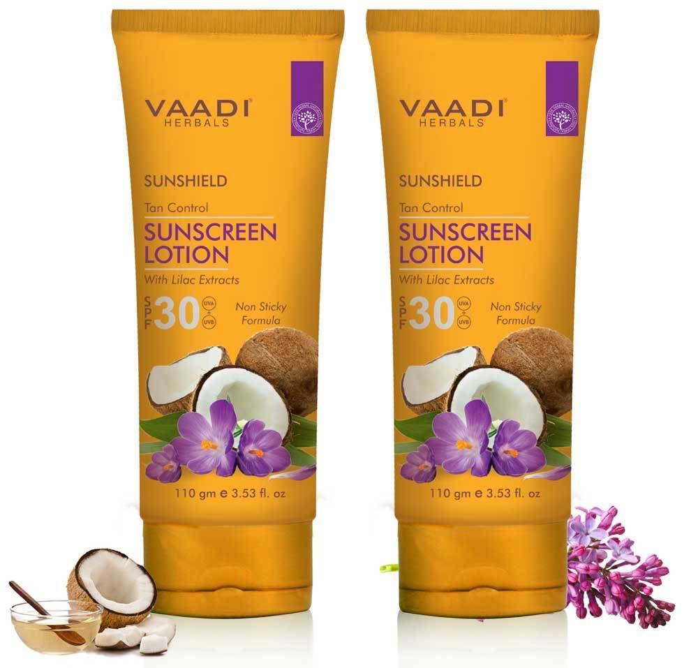 Organic Sunscreen Lotion SPF 30 wth Lilac Extract - Anti oxidant Rich - Long Lasting - Protects from Sun Tan (2 x 110 ml / 4 fl oz)