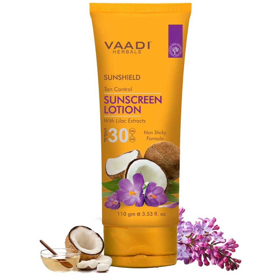 Organic Sunscreen Lotion SPF 30 wth Lilac Extract - Anti oxidant Rich - Long Lasting - Protects from Sun Tan (110 ml / 4 fl oz)