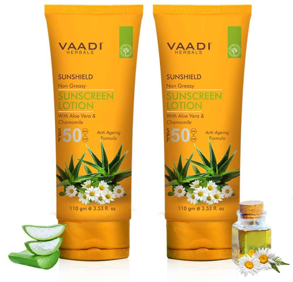 Organic Sunscreen Lotion SPF 50 with Aloe Vera & Chamomile - Non Greasy - Long Lasting - Soothes Burnt Skin (2 x 110 ml/ 4 fl oz)
