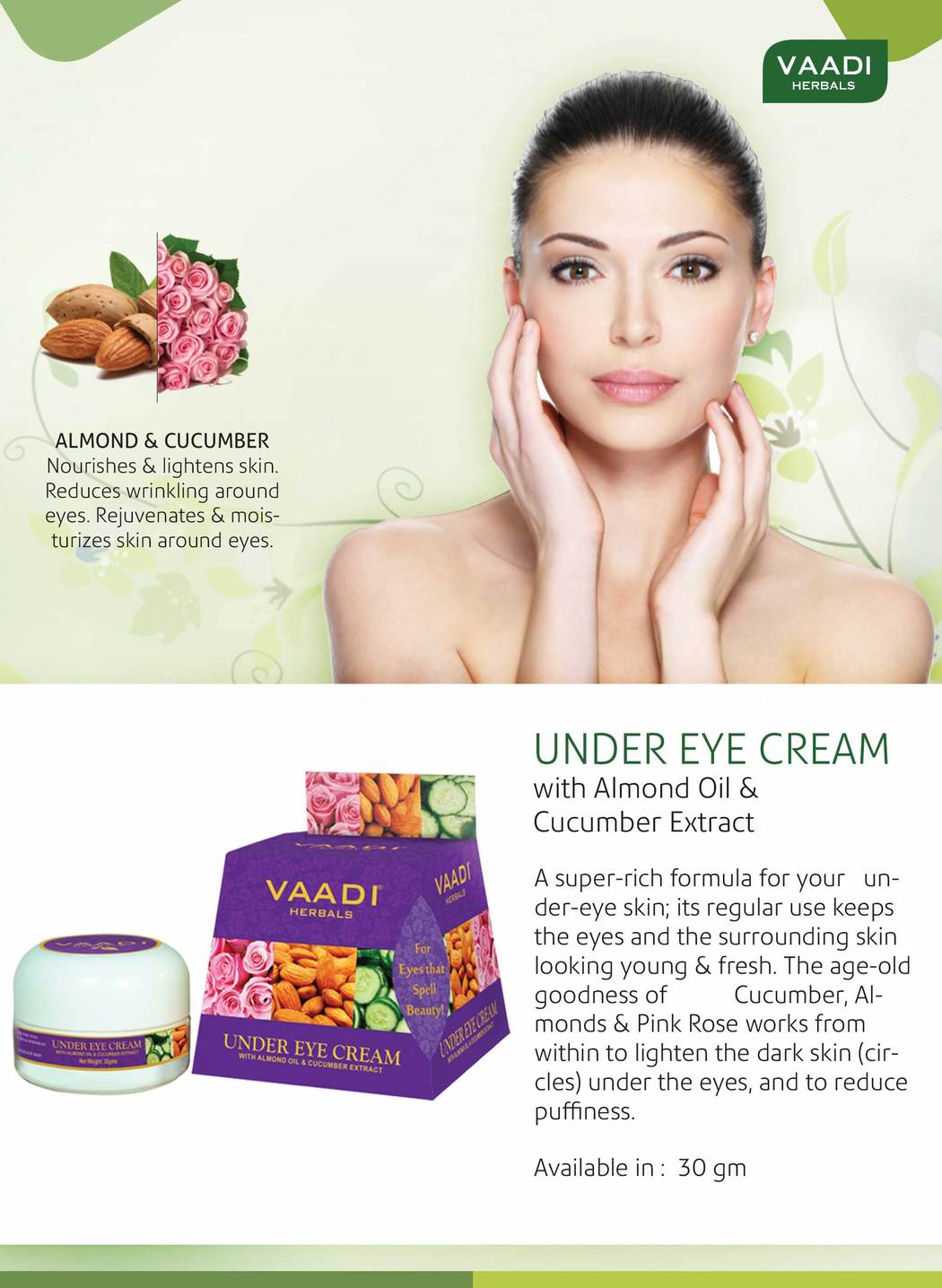 Organic Under Eye Cream with Almond Oil & Cucumber Extract - Reduces Puffiness - Keeps Skin Youthful (30 gms /1.1 oz)