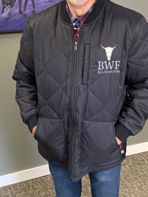 BWF Embroidered quilted freezer Jacket - Bill Worb Furs Inc.