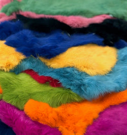 dyed rabbit fur pelts coloured
