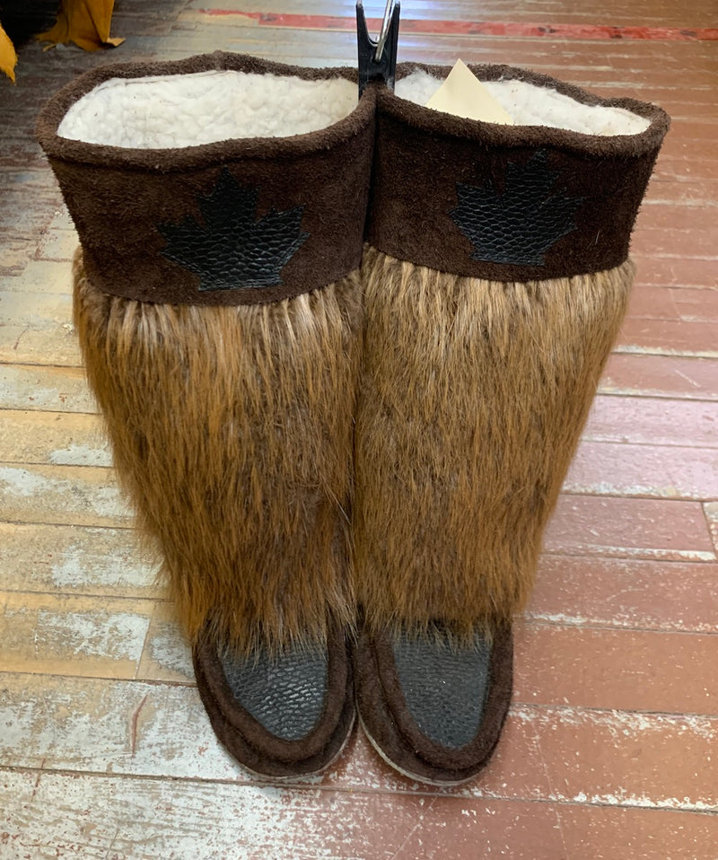 Women's ONE OF A KIND beaver fur and leather mukluks - Bill Worb Furs Inc.