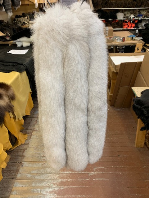 natural blue fox tail hood ruff fur