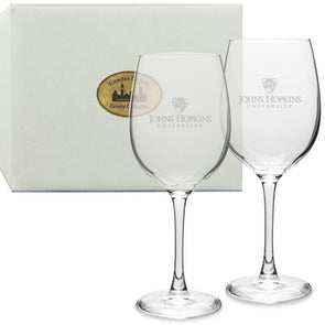 Set of 2 Campus Crystal Etched Red Wine Glasses