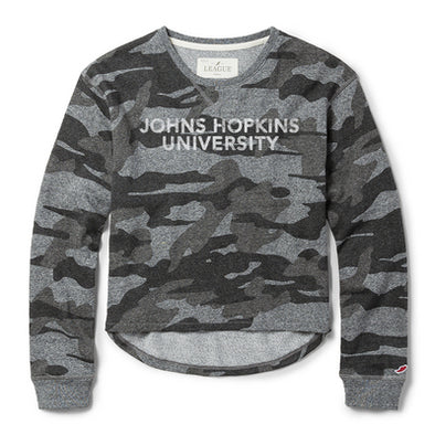 League Women's Camo Terry Crew