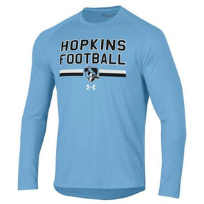 "Under Armour Hopkins Blue Jays Long Sleeve Tech T-Shirts ""Football"" Light Blue"