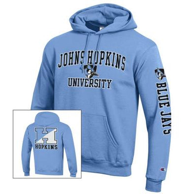Champion® Johns Hopkins Three Location Fleece Hoodie Light Blue