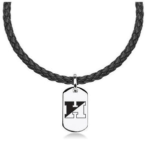 M. LaHart Leather Necklace with Sterling Dog Tag