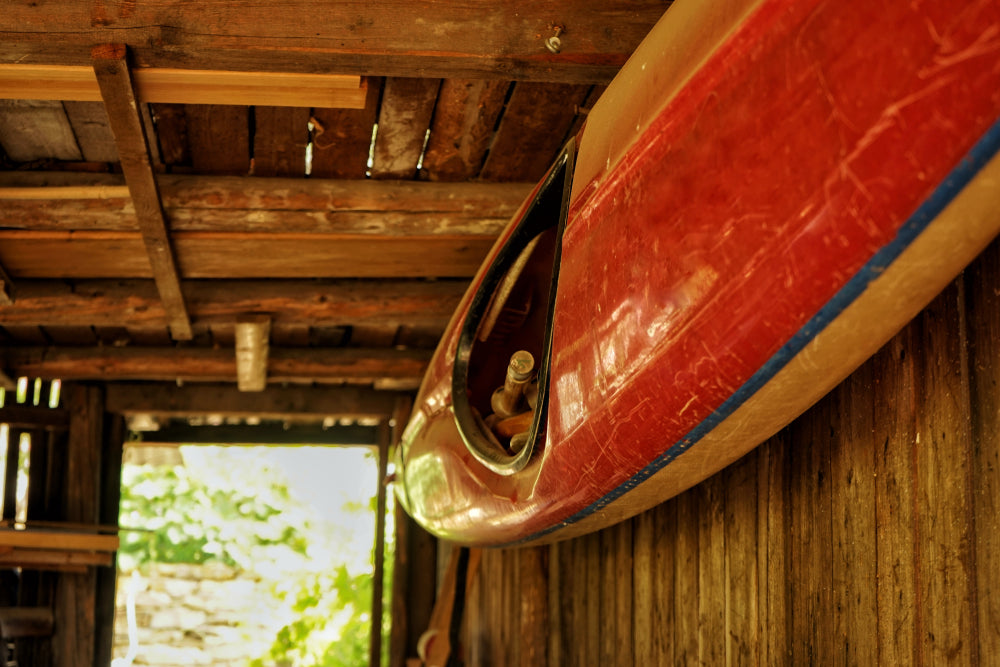 storing a kayak in a shed