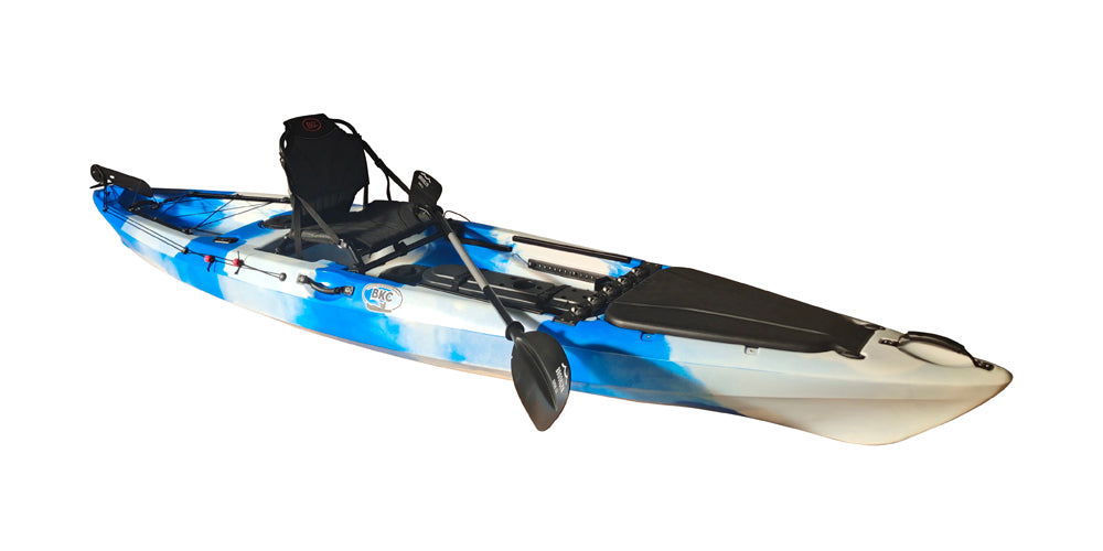 BKC FK13 13-foot Solo Sit on Top Angler Fishing Kayak w/ Upright Seat, Paddle, Hand Rudder, and Multiple Storage Compartments