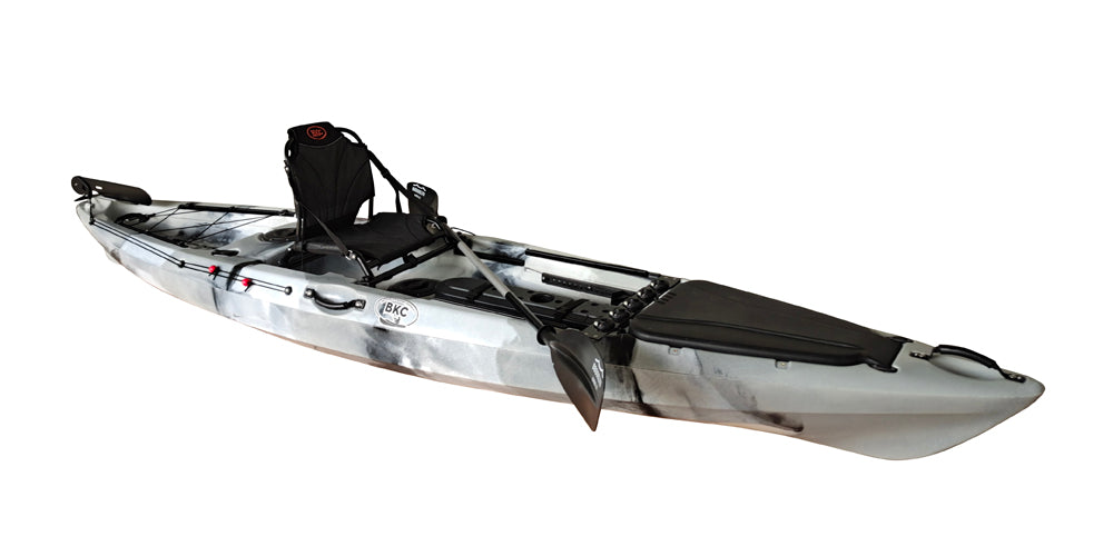 BKC FK13 13-foot Single Sit on Top Angler Fishing Kayak w/ Upright Seat, Paddle, Hand Rudder, and Multiple Storage Compartments