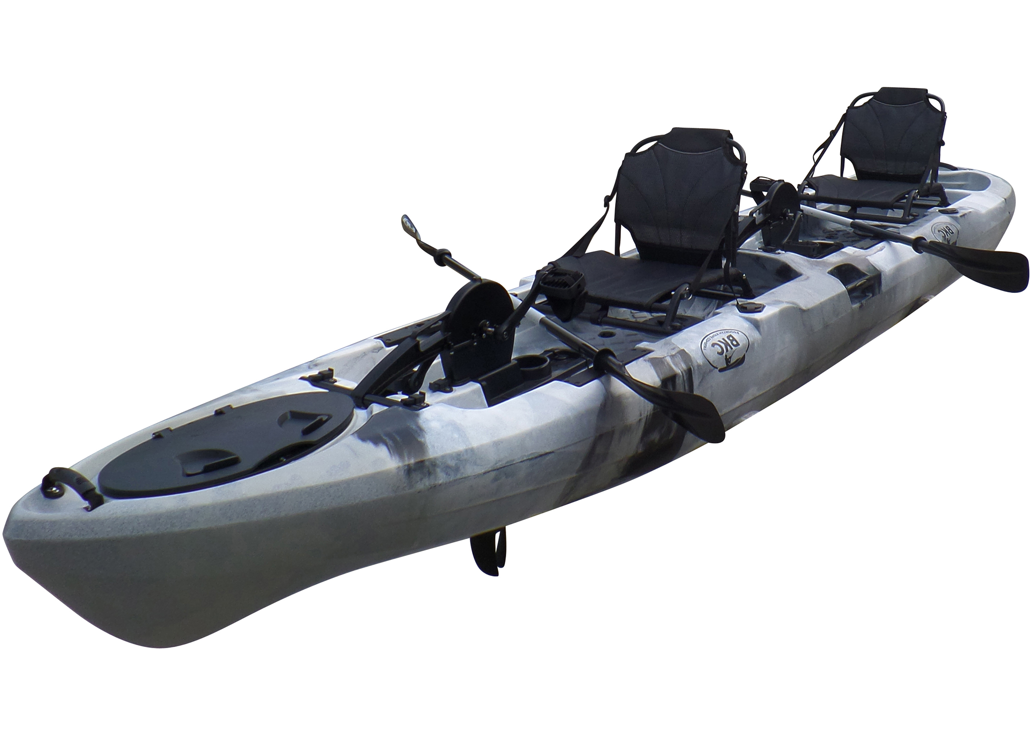 BKC PK14 14' Tandem Sit On Top Pedal Drive Kayak W/ Rudder System, 2 Paddles, 2 Upright Back Support Aluminum Frame Seats 2 Person Foot Operated Kayak - Brooklyn Kayak Company