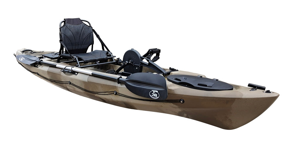 BKC PK12 Angler 12-foot Sit On Top Solo Fishing Kayak w/ Instant Reverse Pedal Drive, Hand Control Rudder, Paddle, and Upright Seat