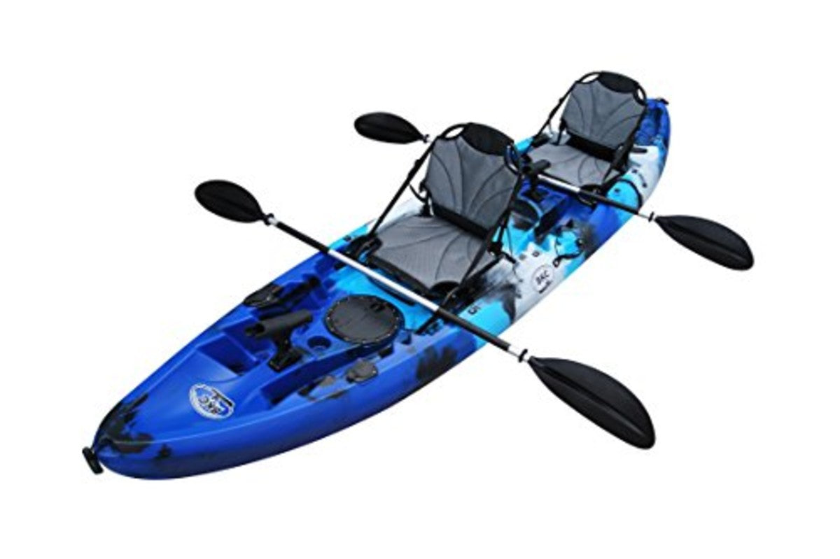 BKC TK219 12.5-foot Tandem Sit On Top Kayak for 2 or 3 Person Angler Kayak – Comes w/ Upright Aluminum Frame Seats, and 2 Paddles
