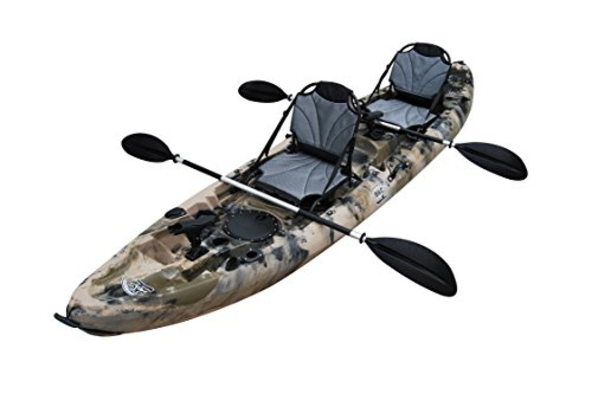 BKC TK219 12.2' Tandem SIt On Top Kayak W/Upright Aluminum Frame Backrest Support Seats, Paddles, 6 Fishing Rod Holders Included 2-3 Person Angler Kayak