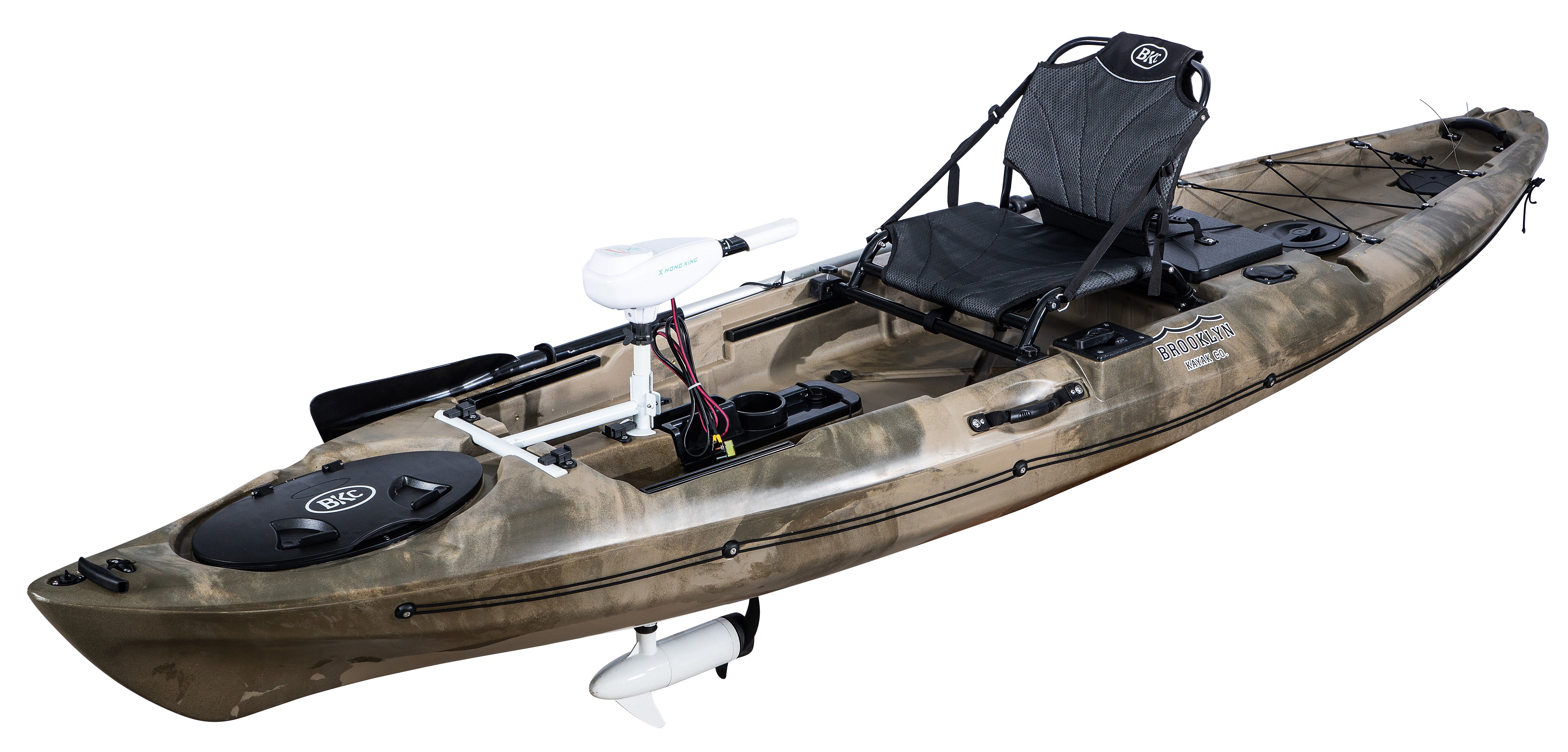 BKC PK12 Angler 12-foot Sit On Top Solo Fishing Kayak w/ Trolling Motor, Paddle, and Upright Aluminum Seat