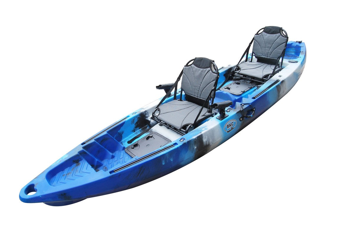 BKC TK122 12.9' Tandem Fishing Kayak W/ Upright Aluminum Frame with Backrest Support Seats, Paddles, 4 Rod Holders Included 2-3 Person Angler Kayak - Brooklyn Kayak Company