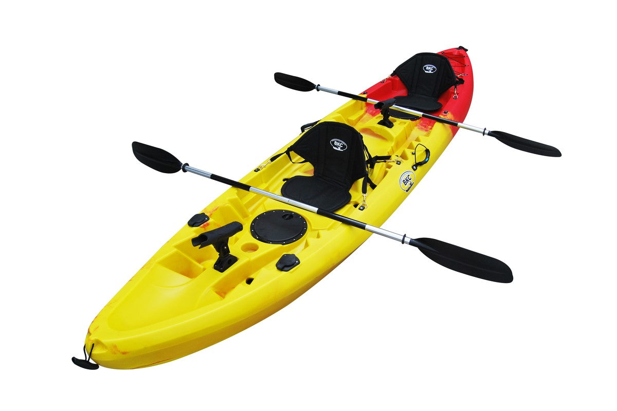 BKC TK219 12.2' Tandem Fishing Kayak W/ Soft Padded Seats, Paddles,6 Rod Holders Included 2-3 Person Angler kayak - Brooklyn Kayak Company
