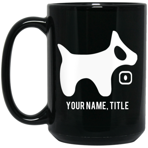 15 oz. Black Mug White Logo White Text