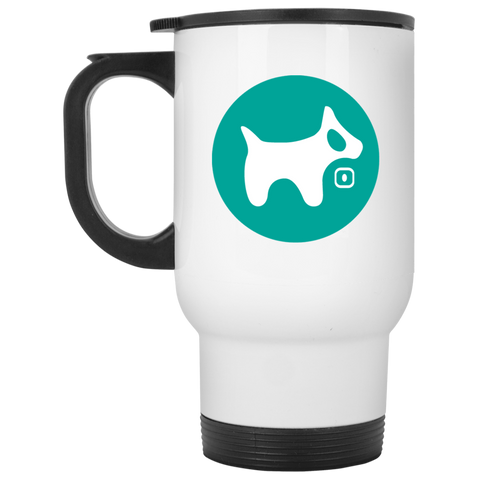 White Travel Mug AQUA logo