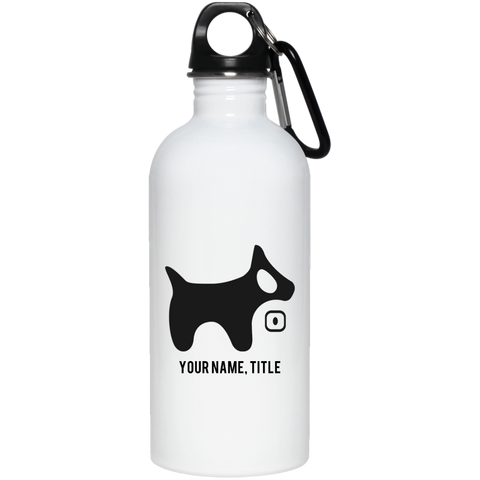 20 oz. Stainless Steel Water Bottle BLACK logo BLACK TEXT