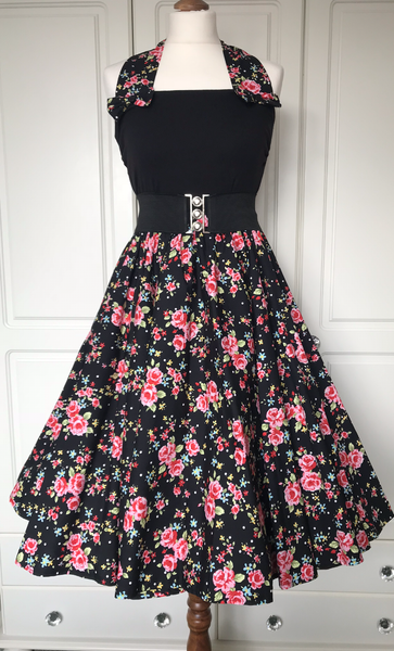 Peggy Circle Skirt- Black with Pink Roses