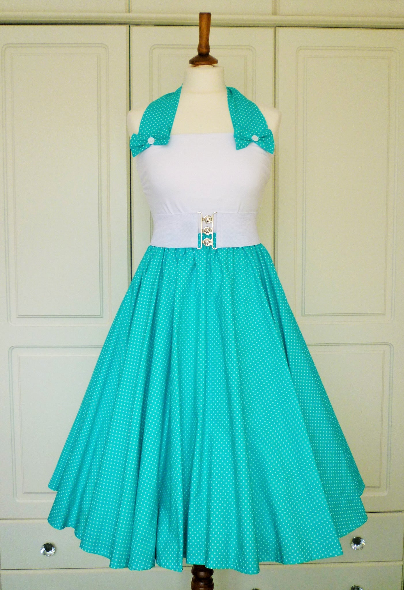 Peggy Circle Skirt- Turquoise and White Pin Spots