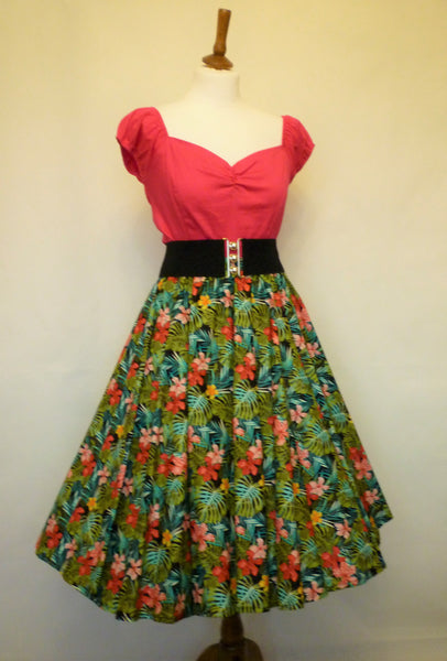 Peggy Circle Skirt- Tropical Palms