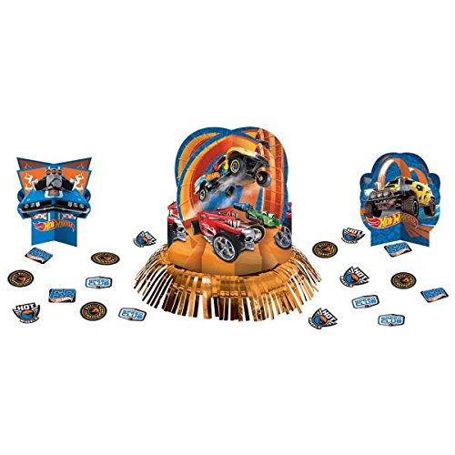 Assorted Sizes amscan Fast Riding Hot Wheels Wild Racer  Birthday Party Assorted Table Decorating Kit 23-Piece Paper Multi Colored