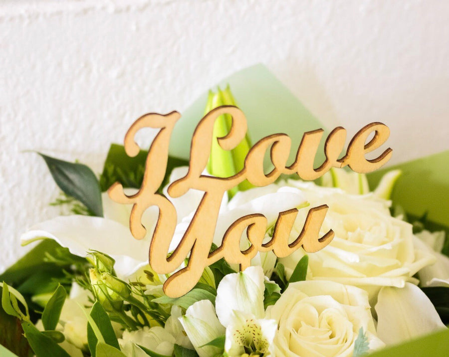 I love you wooden flower sign