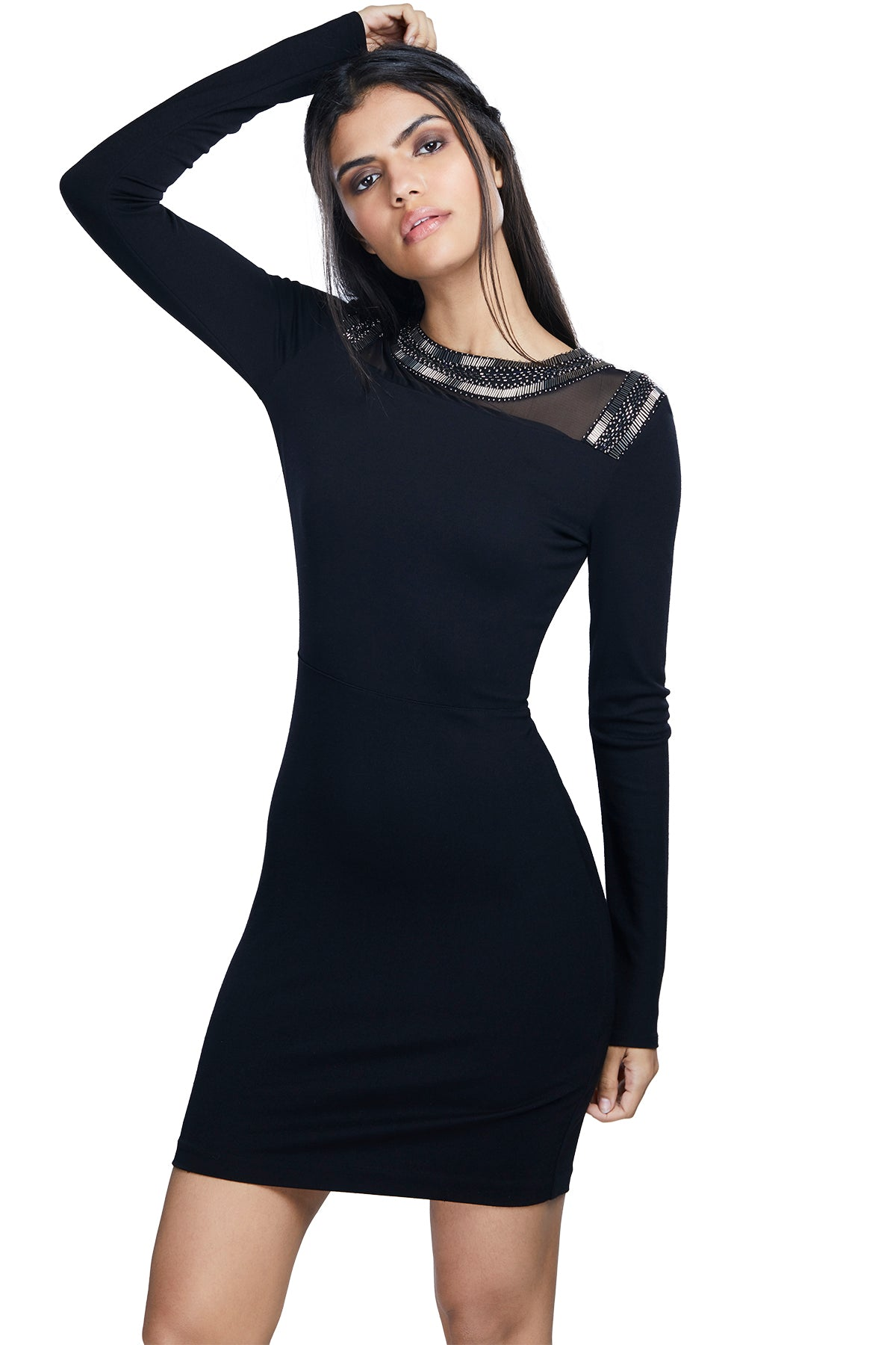 Bring sexy black in this black bodycon dress with silver pearls and bead embellishments on the neckline.
