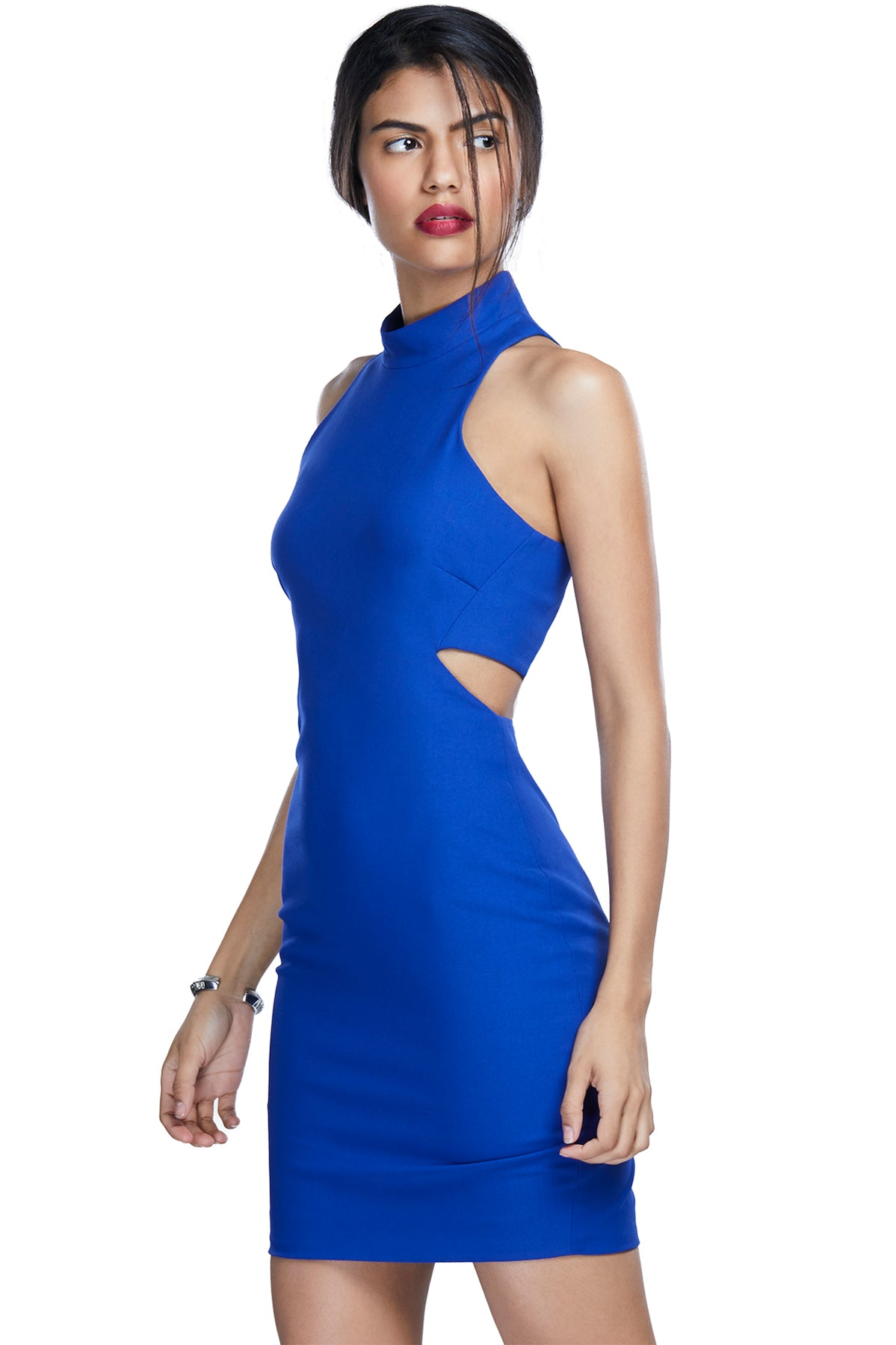 Got it, flaunt it! Arrest everyone's attention at once in this electric blue bodycon dress with cut-outs at the waist.